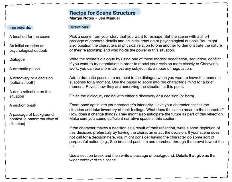 How to Revise Your Scene Margin Notes Recipe Card